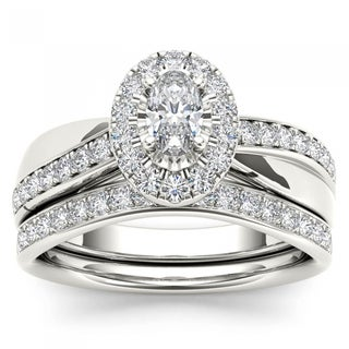 De Couer 14k White Gold 3/4ct TDW Oval Cut Diamond Halo Engagement Ring Set (H-I, I2)