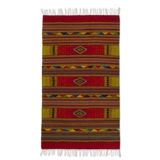 Handcrafted 'A Thousand Stars' Beige Red Zapotec Wool Rug (4 x 6.5) (Mexicow)