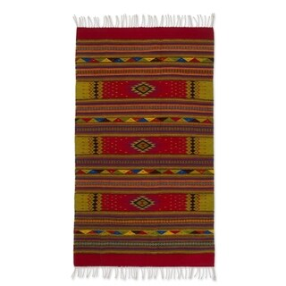 Handmade A Thousand Stars' Beige Red Zapotec Wool Rug - 4 x 6.5 (Mexico)