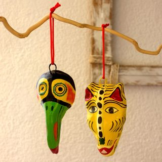 Set of 6 Handmade Ceramic 'Ancestral' Masks (Guatemala)