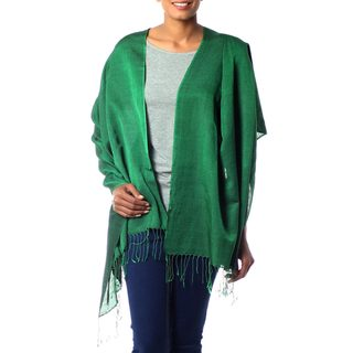 Handcrafted Silk Wool 'Emerald Jade' Shawl (India)