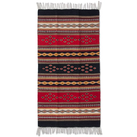 Handmade Zapotec Wool Highland Dawn Runner Rug (Mexico) - Handmade Zapotec Wool 'Highland Dawn' Runner Rug 5