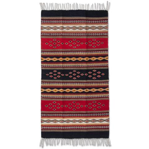 Handmade Zapotec Wool Highland Dawn Runner Rug (Mexico) - Handmade Zapotec Wool 'Highland Dawn' Runner Rug 5