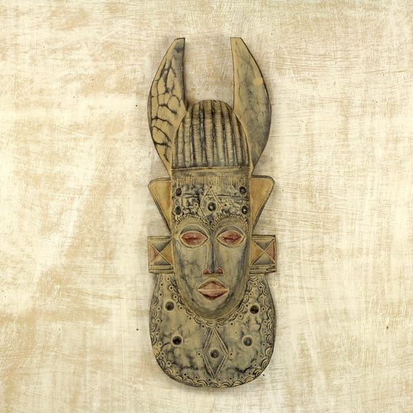 Handcrafted Sese Wood 'Horn' Mask (Ghana)