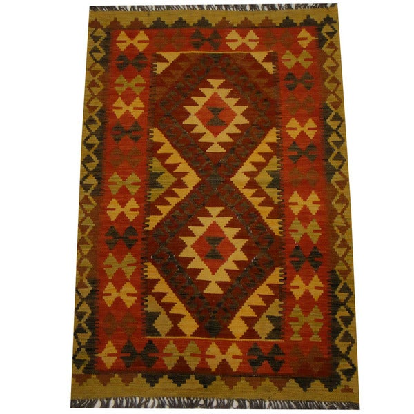 Herat Oriental Afghan Hand-woven Vegetable Dye Wool Kilim (3'3 x 4'11)