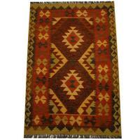 Herat Oriental Afghan Hand-woven Vegetable Dye Wool Kilim - 3'3 x 4'11