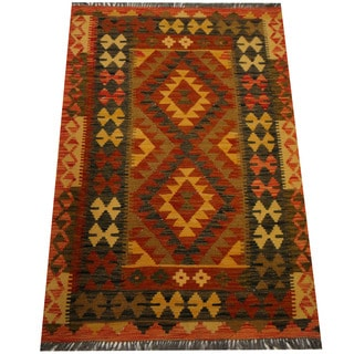 Herat Oriental Afghan Hand-woven Vegetable Dye Wool Kilim (3'4 x 4'11)