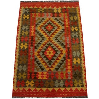 Herat Oriental Afghan Hand-woven Vegetable Dye Wool Kilim (3'4 x 4'5)