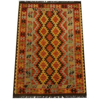 Herat Oriental Afghan Hand-woven Vegetable Dye Wool Kilim (3'6 x 5')