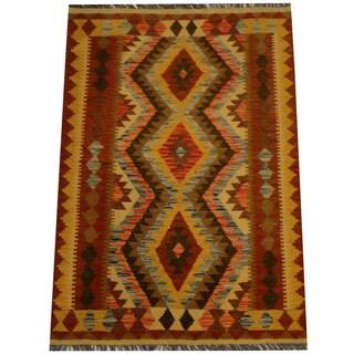 Herat Oriental Afghan Hand-woven Vegetable Dye Wool Kilim (3'4 x 4'11)