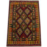 Herat Oriental Afghan Hand-woven Vegetable Dye Wool Kilim (3'5 x 5'1)