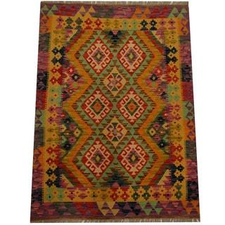 Herat Oriental Afghan Hand-woven Vegetable Dye Wool Kilim (3'7 x 4'10)