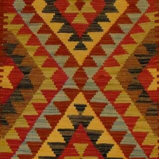 Herat Oriental Afghan Hand-woven Vegetable Dye Wool Kilim (3'1 x 5'5)