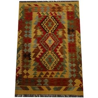 Herat Oriental Afghan Hand-woven Vegetable Dye Wool Kilim (3' x 4'5)