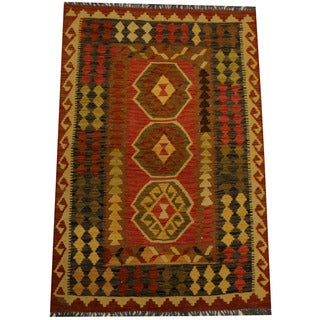 Herat Oriental Afghan Hand-woven Vegetable Dye Wool Kilim (3'2 x 4'10)