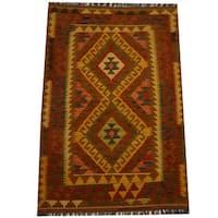 Herat Oriental Afghan Hand-woven Vegetable Dye Wool Kilim (3'2 x 4'10) - 3'2 x 4'10