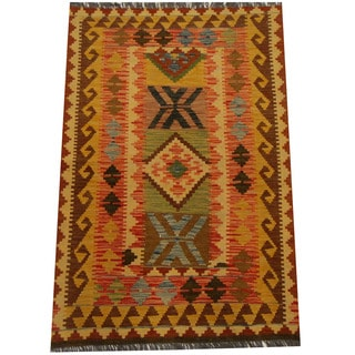 Herat Oriental Afghan Hand-woven Vegetable Dye Wool Kilim (3'3 x 4'9)
