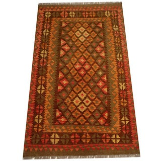 Herat Oriental Afghan Hand-woven Vegetable Dye Wool Kilim (3'5 x 5'8)