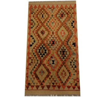 Herat Oriental Afghan Hand-woven Vegetable Dye Wool Kilim (2'9 x 5')