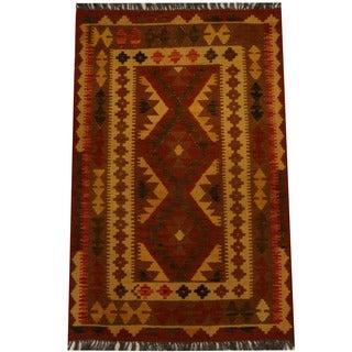 Herat Oriental Afghan Hand-woven Vegetable Dye Wool Kilim (3'1 x 4'11)