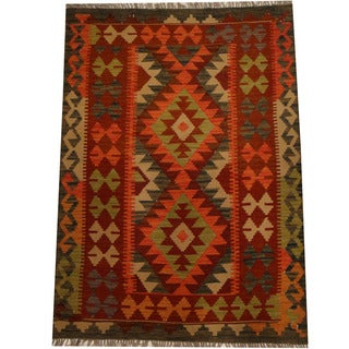 Herat Oriental Afghan Hand-woven Vegetable Dye Wool Kilim (3'5 x 4'10)