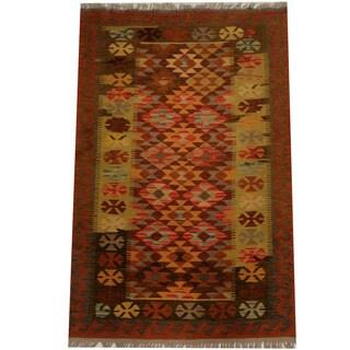 Herat Oriental Afghan Hand-woven Vegetable Dye Wool Kilim (3'1 x 4'8)