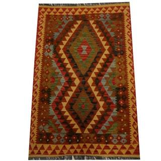 Herat Oriental Afghan Hand-woven Vegetable Dye Wool Kilim (3'3 x 5'5)
