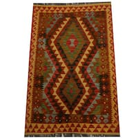 Herat Oriental Afghan Hand-woven Vegetable Dye Wool Kilim - 3'3 x 5'5