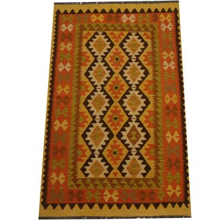 Herat Oriental Afghan Hand-woven Vegetable Dye Wool Kilim (3'4 x 5'4)