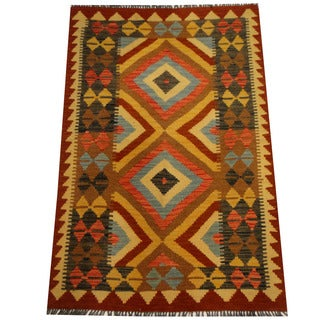 Herat Oriental Afghan Hand-woven Vegetable Dye Wool Kilim (3'5 x 5'2)