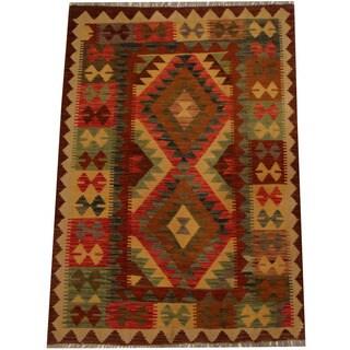 Herat Oriental Afghan Hand-woven Vegetable Dye Wool Kilim (3'6 x 5'1)