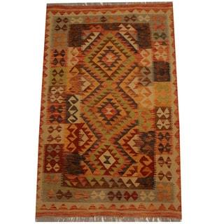 Herat Oriental Afghan Hand-woven Vegetable Dye Wool Kilim (3'5 x 5')