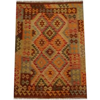Herat Oriental Afghan Hand-woven Vegetable Dye Wool Kilim (3'5 x 4'10)