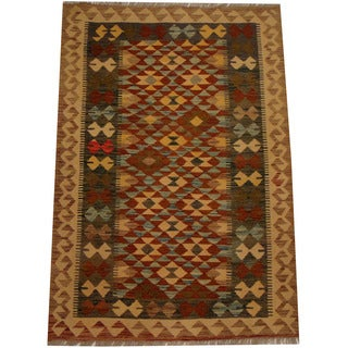 Herat Oriental Afghan Hand-woven Vegetable Dye Wool Kilim (3'5 x 5')