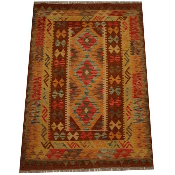 Herat Oriental Afghan Hand-woven Vegetable Dye Wool Kilim (3'6 x 5')