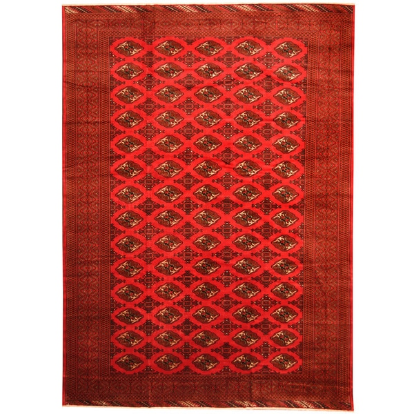 Herat Oriental Afghan Hand-knotted 1960s Semi-antique Tribal Turkoman Wool Rug (9'5 x 13') - 9'5 x 13'