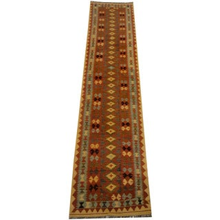 Herat Oriental Afghan Hand-woven Vegetable Dye Wool Kilim Runner (2'11 x 13'4)