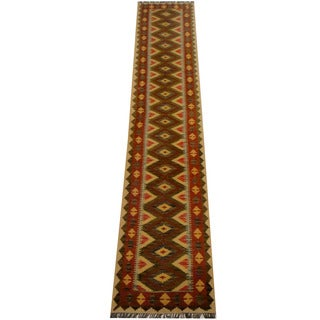 Herat Oriental Afghan Hand-woven Vegetable Dye Wool Kilim Runner (2'6 x 12'10)