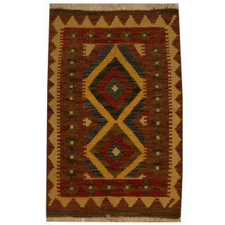 Herat Oriental Afghan Hand-woven Vegetable Dye Wool Kilim (1'10 x 2'10)