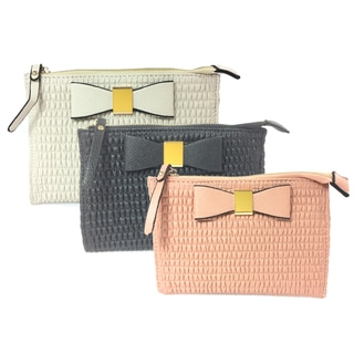 Bow-inspired Cloth and Faux Leather Clutch Bag