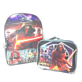 Disney Star Wars Multicolored Polyester Backpack with Lunch Bag