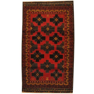Herat Oriental Afghan Hand-knotted 1960s Semi-antique Tribal Balouchi Wool Rug (3'6 x 6')