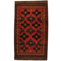 Herat Oriental Afghan Hand-knotted 1960s Semi-antique Tribal Balouchi Wool Rug (3'6 x 6') - 3'6 x 6'