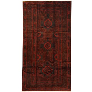 Herat Oriental Afghan Hand-knotted 1960s Semi-antique Tribal Balouchi Wool Rug (4'10 x 9')