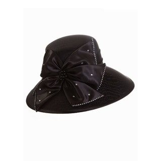 Giovanna Signature Women's Black Brocade Wide-brim Patterned Hat