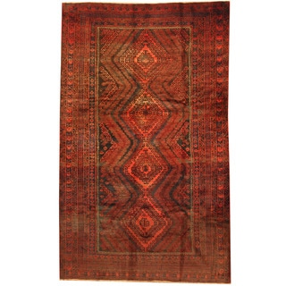 Herat Oriental Afghan Hand-knotted 1960s Semi-antique Tribal Balouchi Wool Rug (5'9 x 9'5)