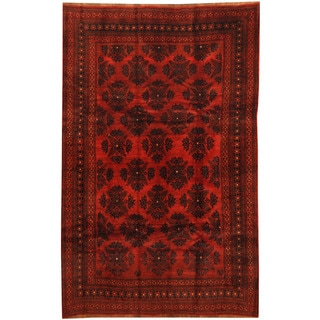 Herat Oriental Afghan Hand-knotted 1960s Semi-antique Tribal Balouchi Wool Rug (5'4 x 8'4)