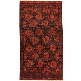 Herat Oriental Afghan Hand-knotted 1960s Semi-antique Tribal Balouchi Wool Rug (5'1 x 9'4)