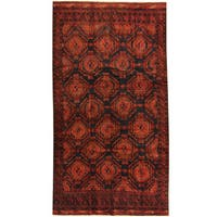 Herat Oriental Afghan Hand-knotted 1960s Semi-antique Tribal Balouchi Wool Rug - 5'1 x 9'4