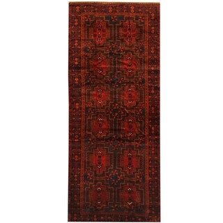 Herat Oriental Afghan Hand-knotted 1960s Semi-antique Tribal Balouchi Wool Rug (4'4 x 10'4)